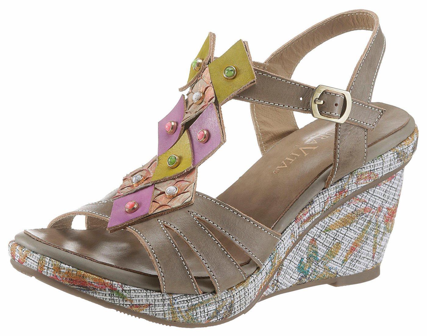 LAURA VITA »David33« Sandalette mit schöner Blattverzierung | Schuhe > Sandalen & Zehentrenner > Sandalen | Bunt | LAURA VITA