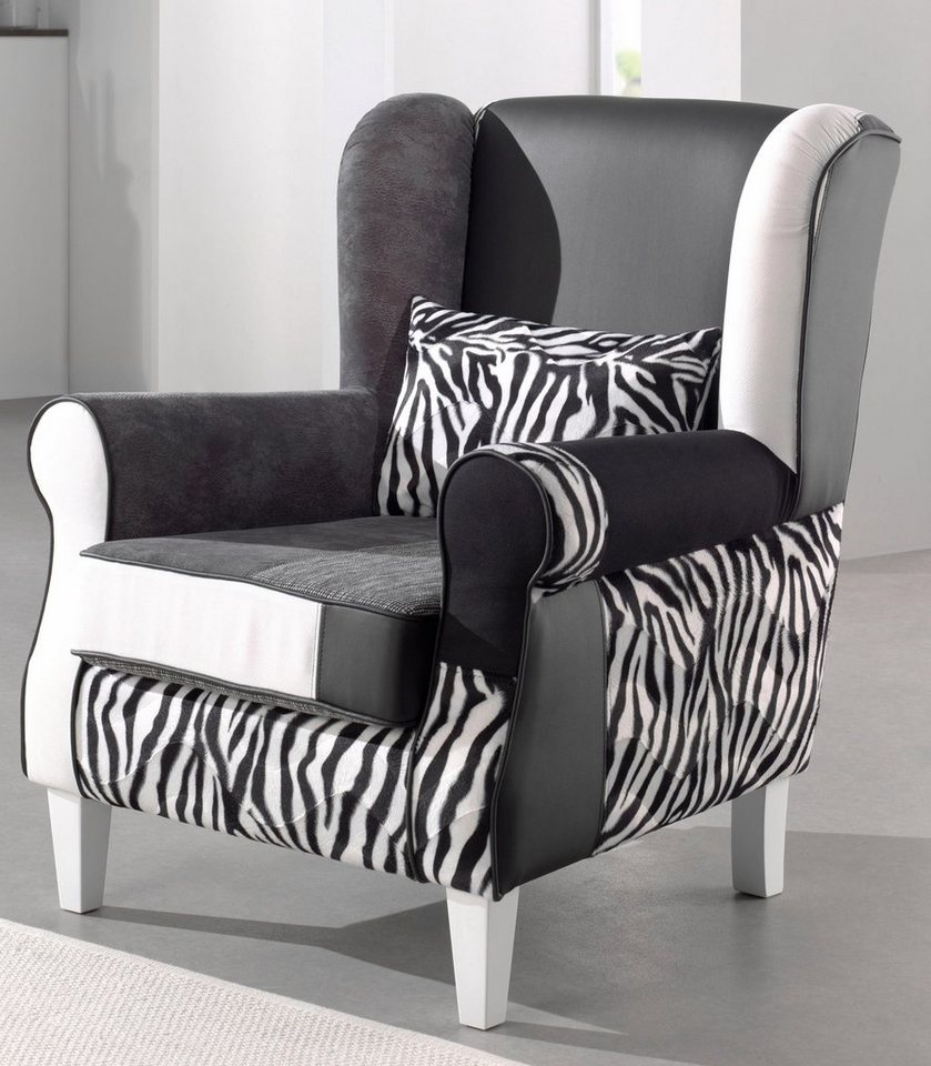 inosign patchwork sessel angela plus mit zierkissen in zebra look online kaufen otto. Black Bedroom Furniture Sets. Home Design Ideas