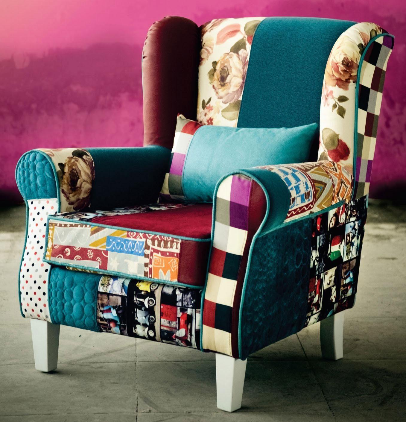 INOSIGN Patchwork- Sessel «Angela plus», mit Zierkissen, bunter Farb- und Mustermix