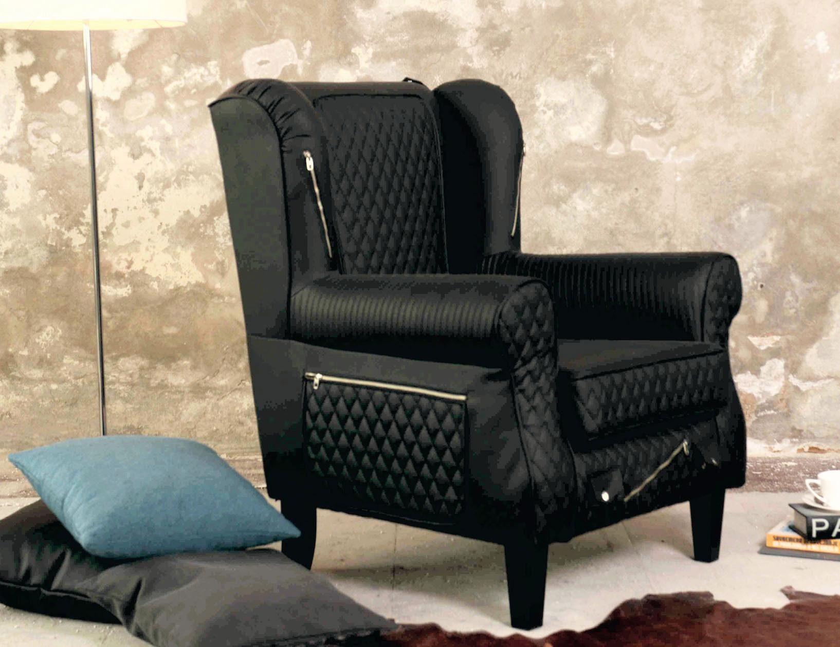 INOSIGN Sessel »Edge«, außergewöhnliches Design, Steppoptik, Reißverschlüsse