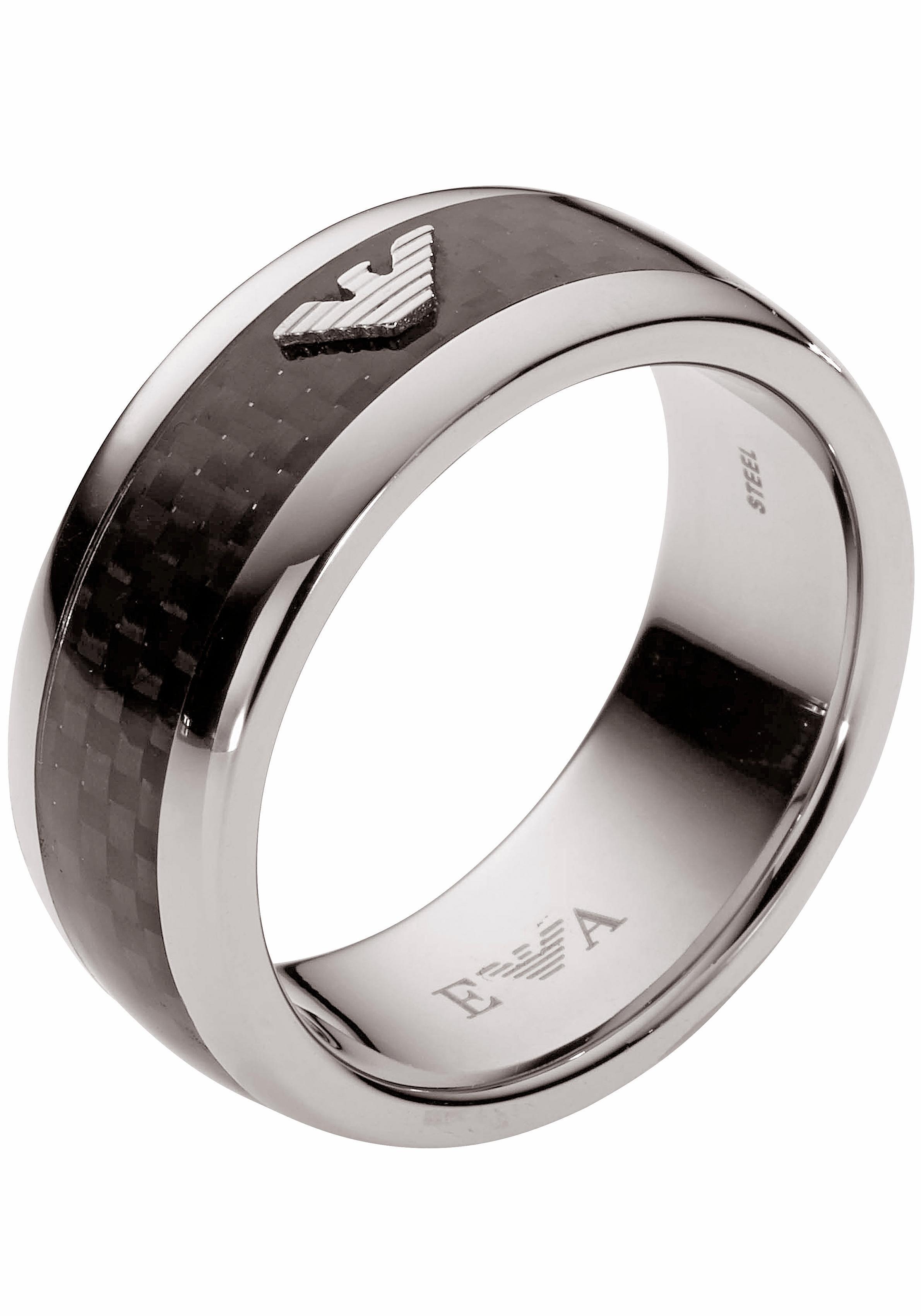 Emporio Armani Fingerring »EGS1602040« mit Carbon