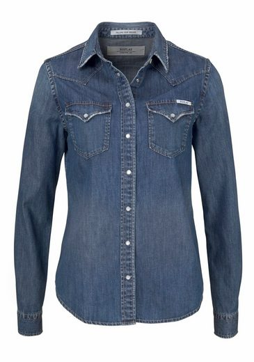 Replay Jeansbluse, im leichten Used-Look