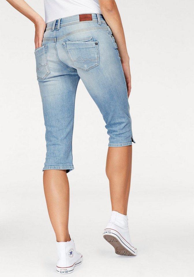 pepe jeans caprijeans saturn crop mit kleinem schlitz. Black Bedroom Furniture Sets. Home Design Ideas