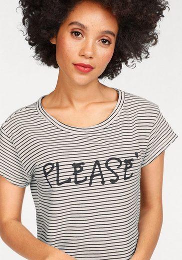 Please Jeans T-Shirt, mit Streifen