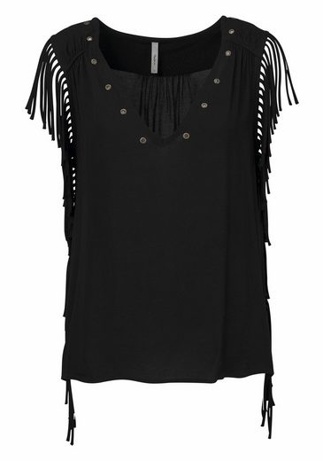 Pepe Jeans Blusentop GINNY, mit Fransendetail