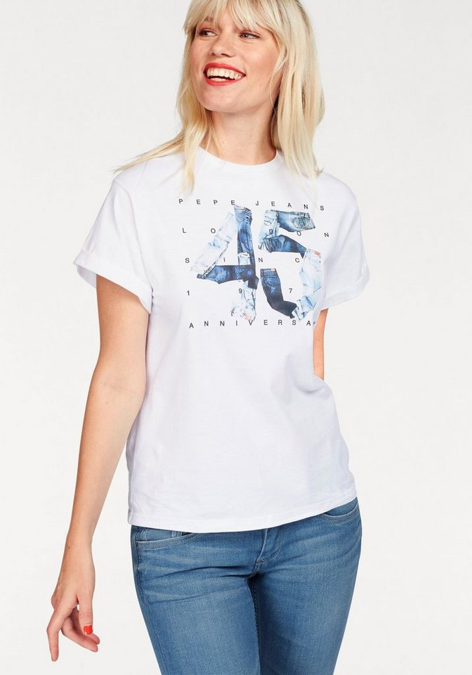 pepe jeans t shirt 45yrs jubil ums print kaufen otto. Black Bedroom Furniture Sets. Home Design Ideas