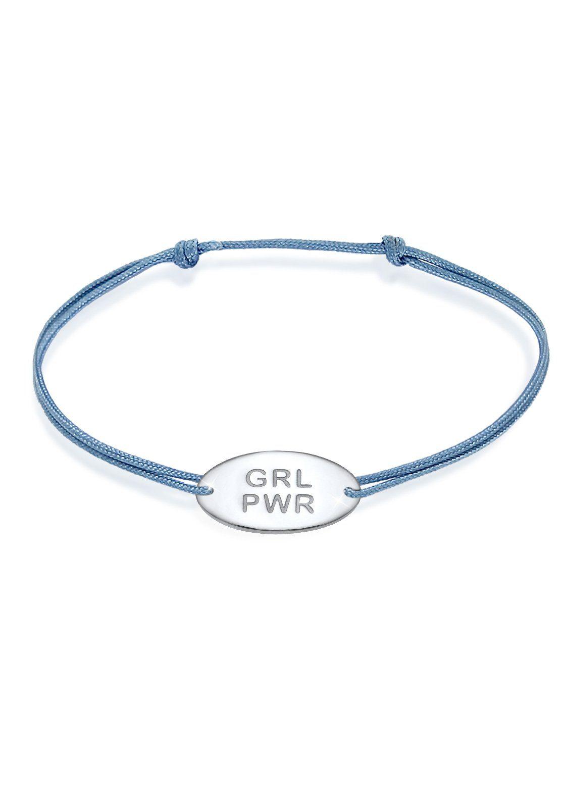 Elli Armband »Girl Power Schriftzug Statement Nylon 925 Silber«