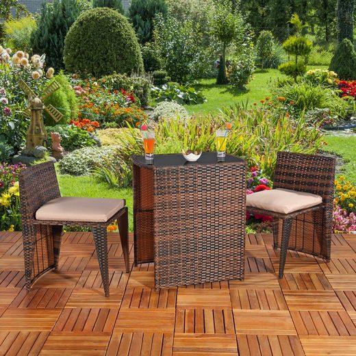 Mucola Gartenmöbelset »3tlg. Polyrattan Balkonset Gartenset Sitzgruppe Gartenmöbel Sitzgarnitur Balkonmöbel«, (3-tlg)