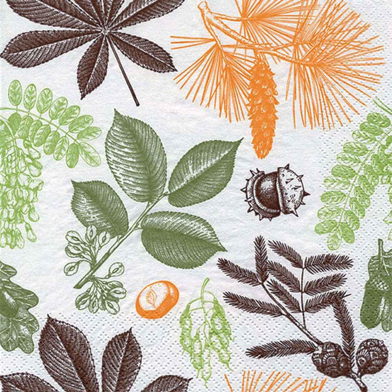 Linoows Papierserviette »20 Servietten Herbst Aquarell, Früchte & Blätter«, Motiv Herbst Aquarell, Früchte & Blätter des Waldes