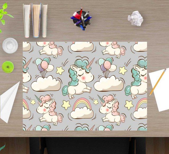 cover-your-desk.de Schreibtischaufsatz »Schreibtischunterlage für Kinder – Süße Einhörner – 60 x 40 cm – aus hochwertigem Vinyl«| (1-St) | Kinderzimmer > Kindertische > Kinderschreibtische | cover-your-desk.de