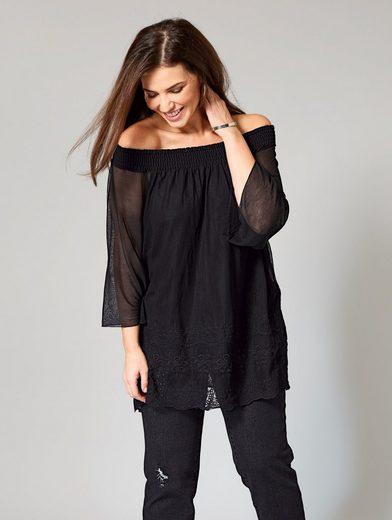 Sara Lindholm by Happy Size 2-in-1-Shirt mit Carmen-Ausschnitt und Spitze