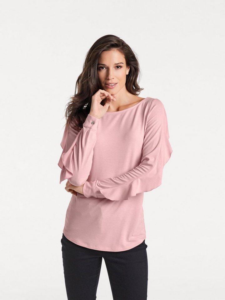 heine TIMELESS Longshirt mit Volants | Bekleidung > Shirts > Longshirts | Rosa | Jersey - Elasthan | heine