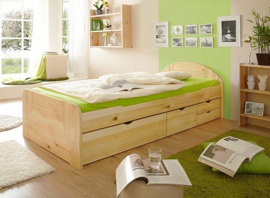 Ticaa Massivholzbett »Erna«, in diversen Breiten mit Bettschubkästen, Kiefer