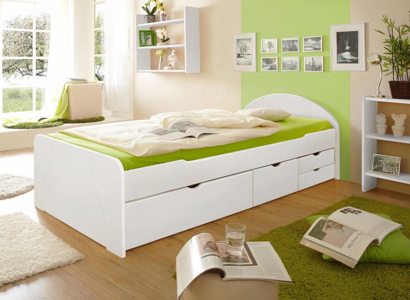 Ticaa Bett Erna in diversen Breiten mit Bettschubkästen Kiefer weiß   04251105926603