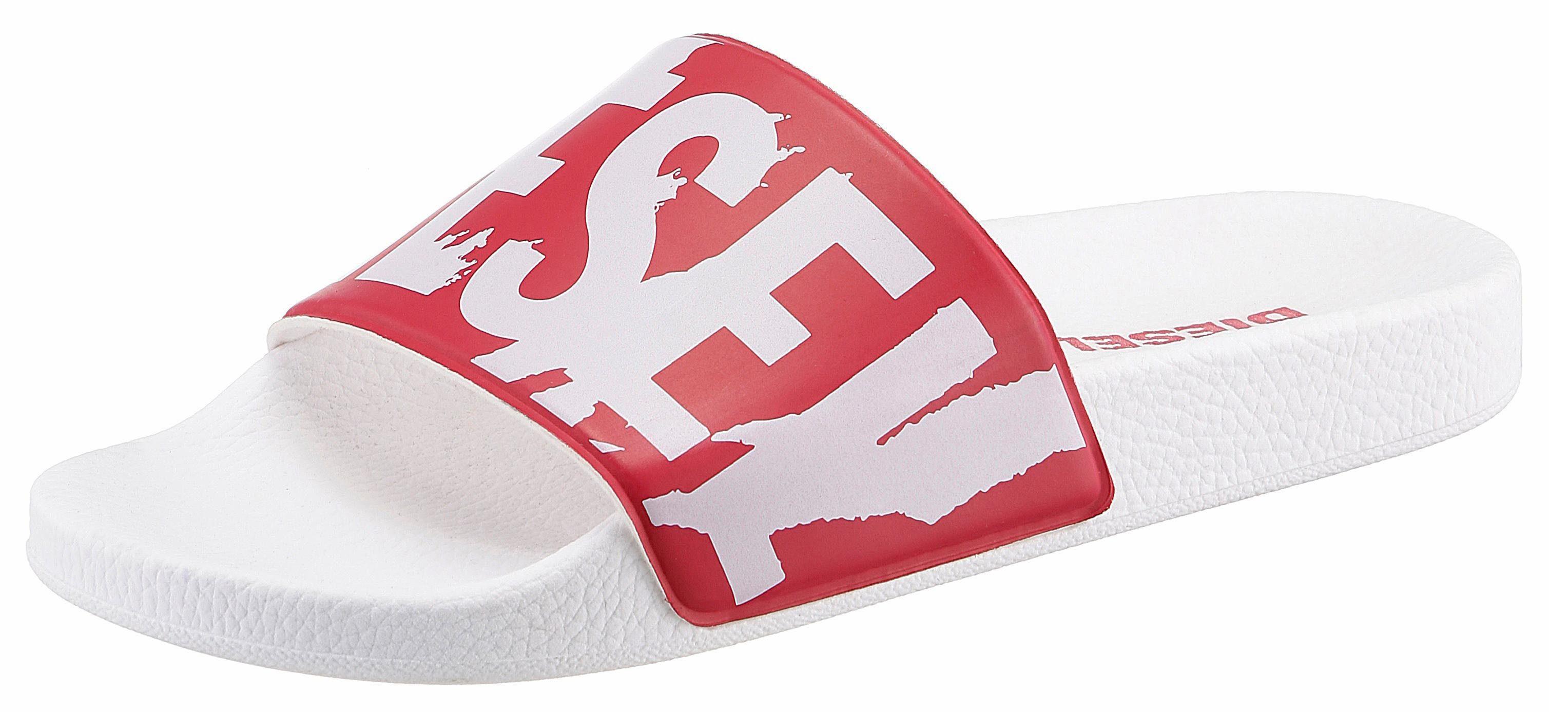 Diesel S-Lohaa Sa-Maral W Pantolette, mit bedruckter, breiter Bandage online kaufen  rot-weiß