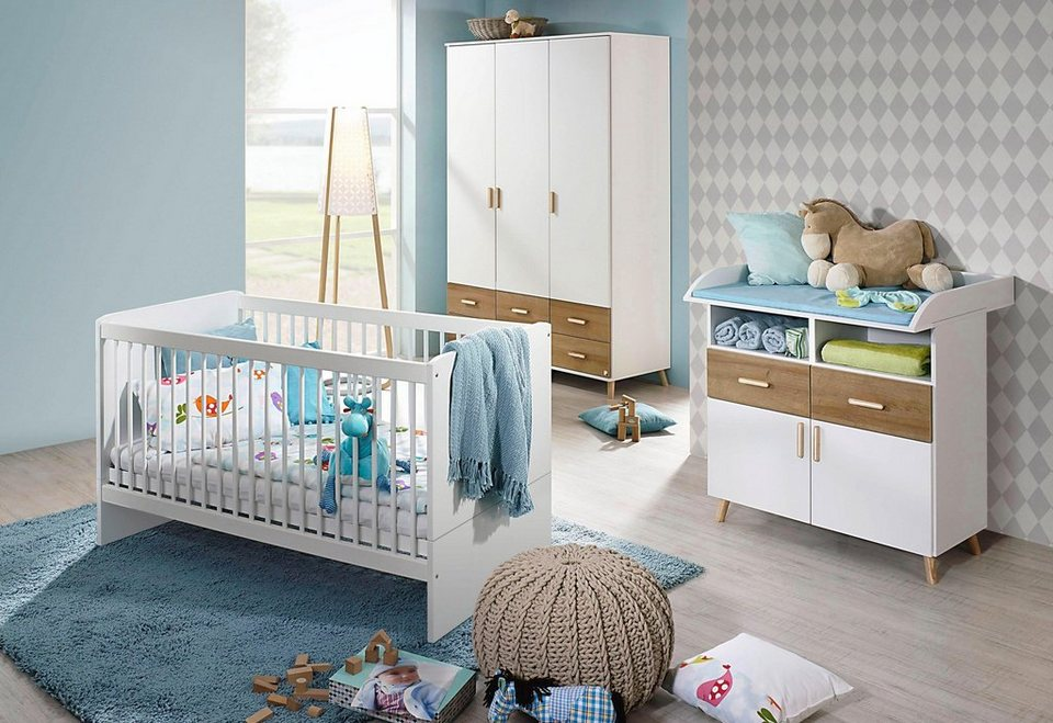 komplett babyzimmer potsdam babybett wickelkommode gro er kleiderschrank 3 tlg set in. Black Bedroom Furniture Sets. Home Design Ideas