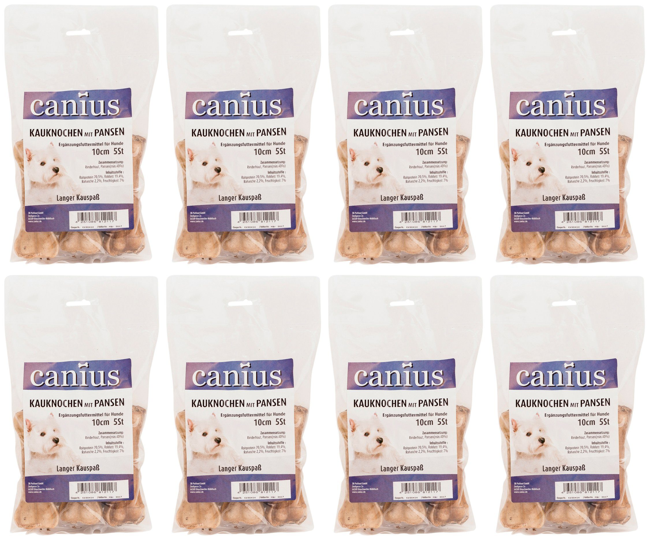 CANIUS Hundesnack »Kaukochen mit Pansen 10 cm«, 8 x 210 g