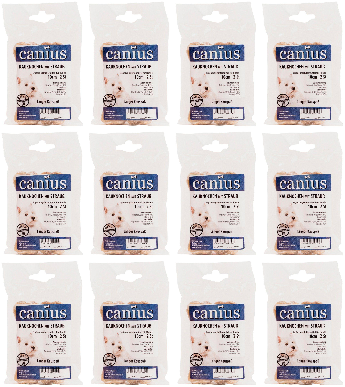 CANIUS Hundesnack »Kauknochen mit Strauß 10 cm«, 12 x 90 g