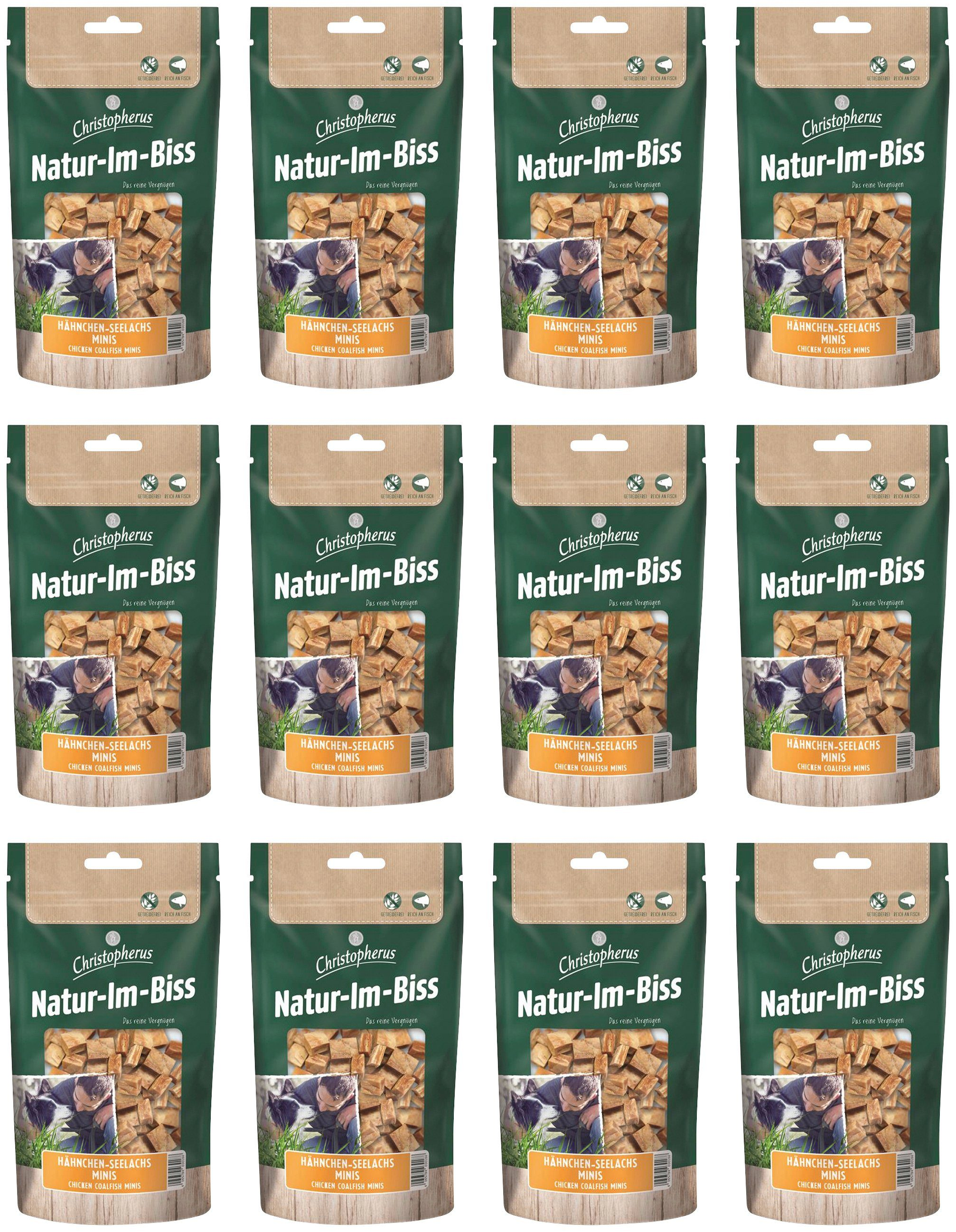 CHRISTOPHERUS Hundesnack »Hähnchen-Seelachs Mini«, 12 x 70 g