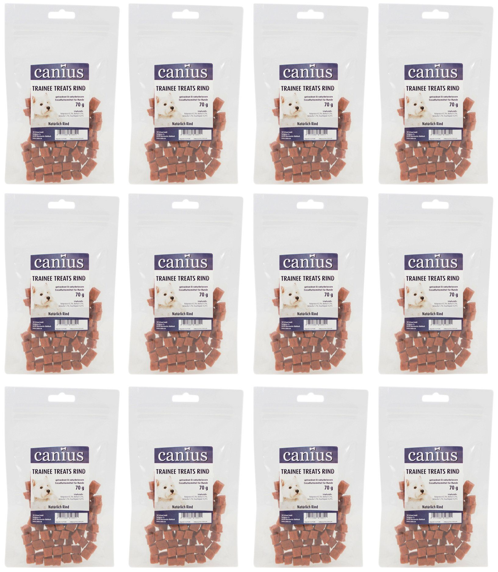 CANIUS Hundesnack »Trainee Treats Rind«, 12 x 70 g