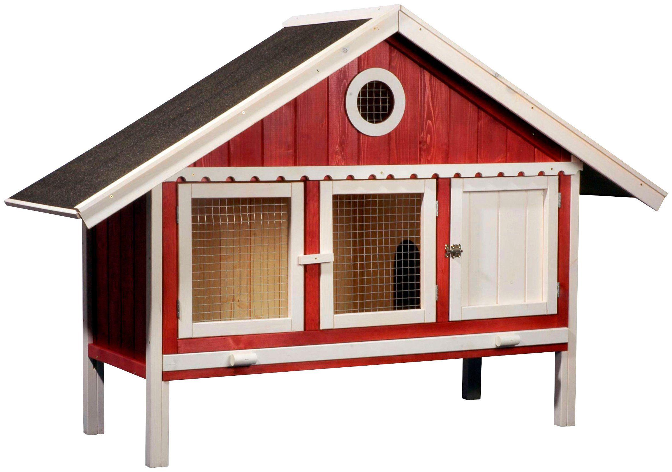 DOBAR Kleintierstall »Schwedenhaus«, BxTxH: 170x56x115 cm, mit Freilaufgehege