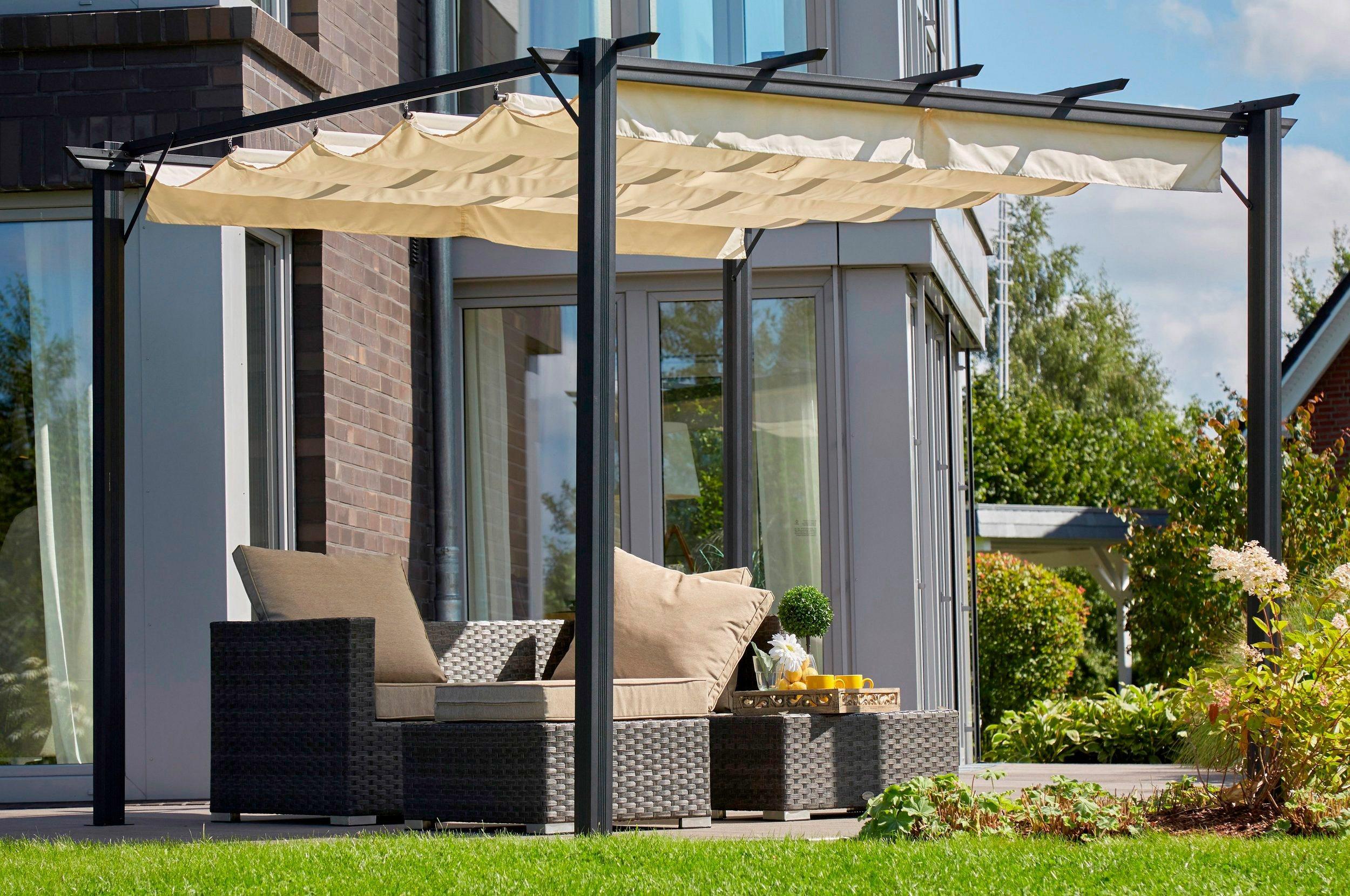 Pavillon »Aluminium«, BxL: 295x295 cm, sandfarben   Garten > Pavillons   Polyester