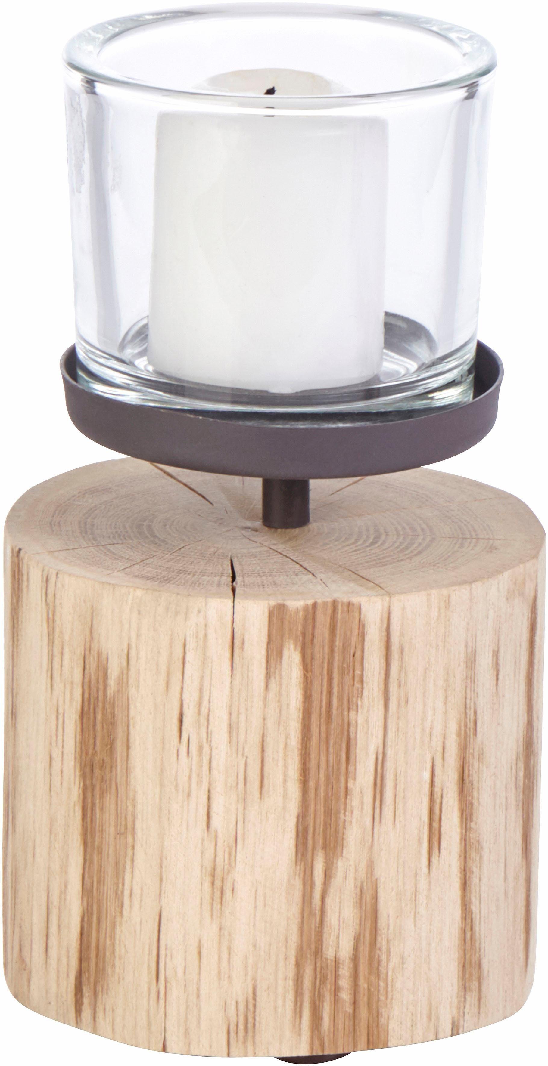 Home affaire Windlicht mit Holzfuß und Eisengestell