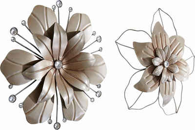 Home affaire Wanddekoobjekt »Blume« (2er-Set), Wanddeko, aus Metall, mit Perlmutt Verzierung