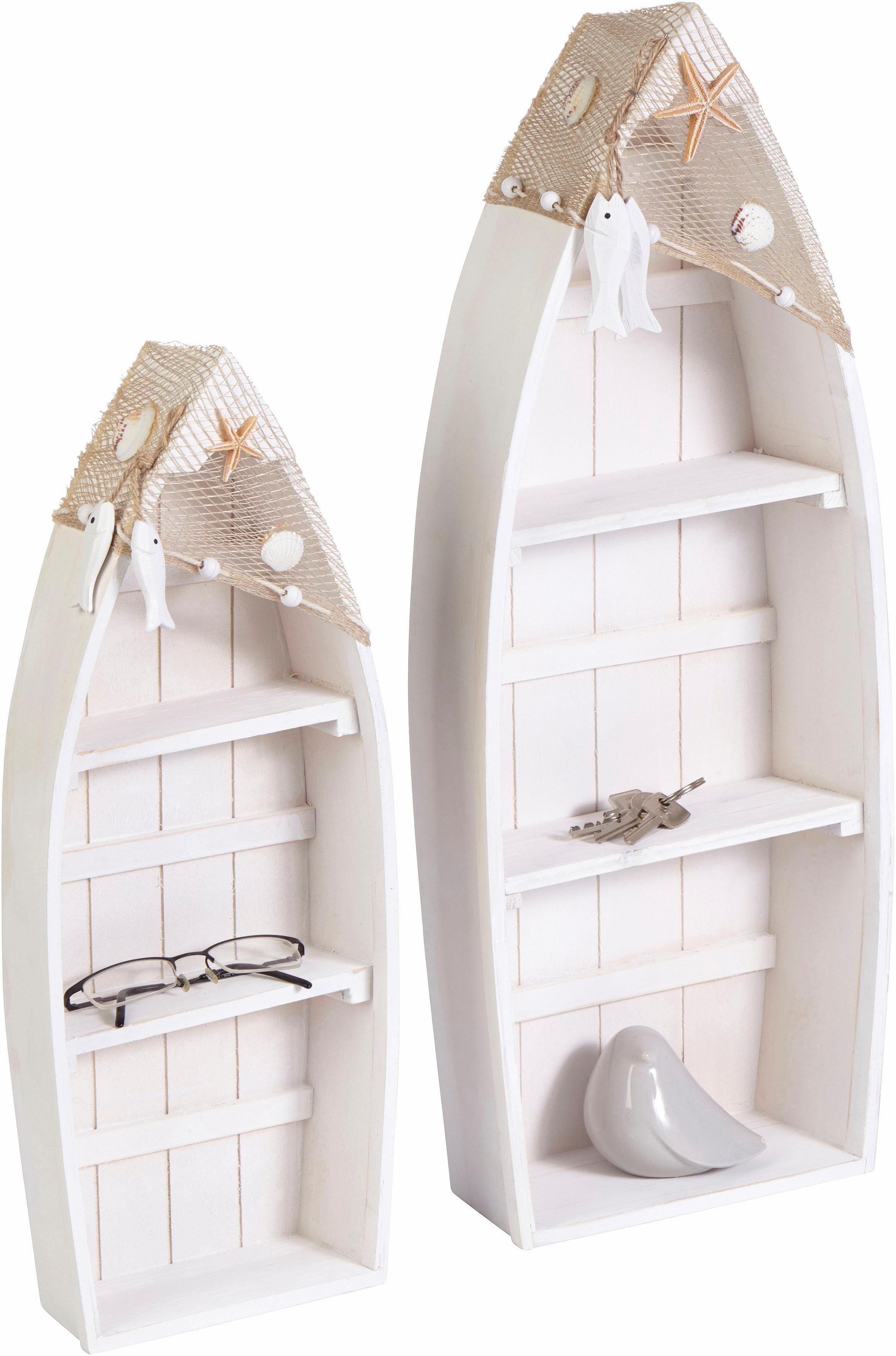Home affaire Regal »Ruderboot mit Netz und Holz« (2er Set)