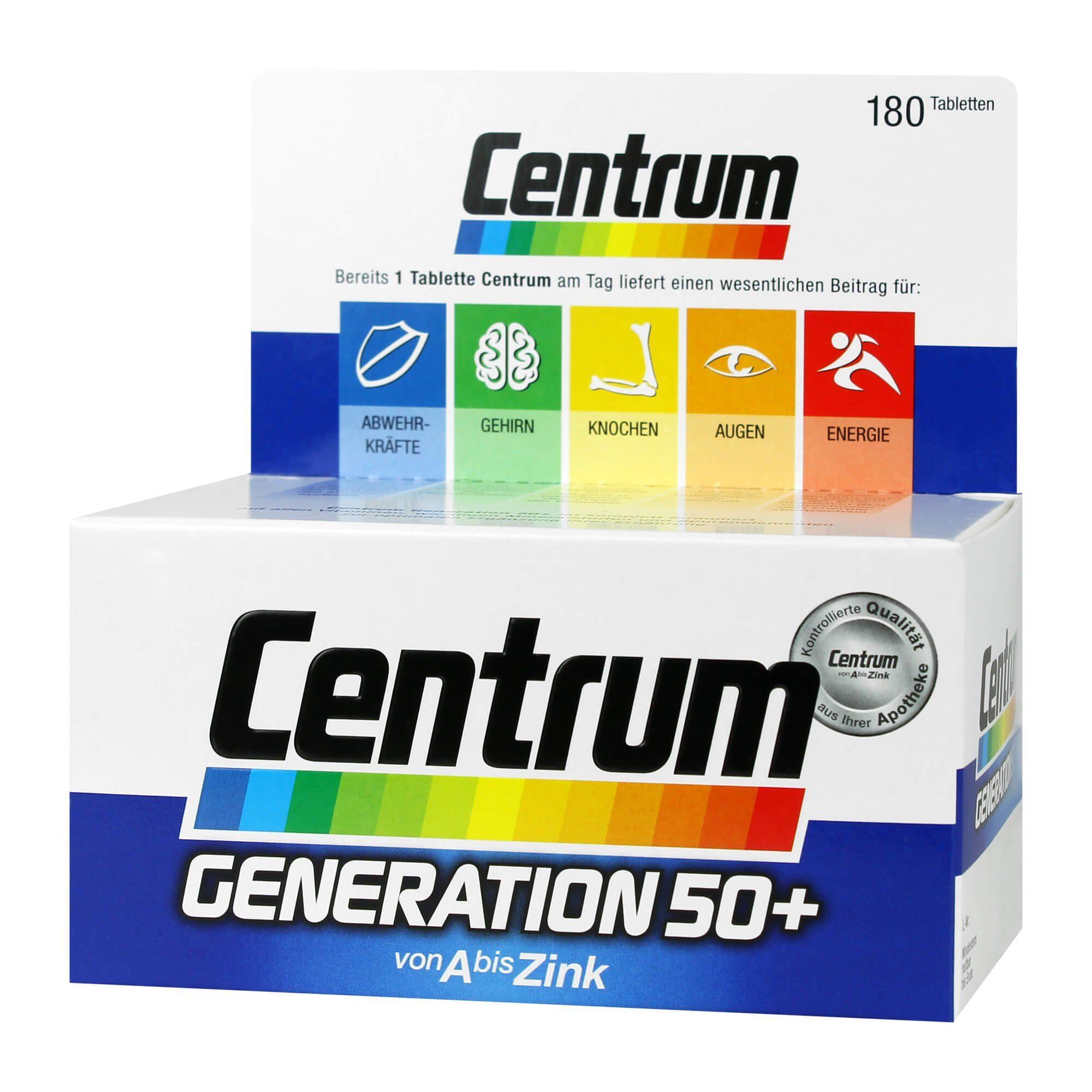 Centrum Gen.50+ A-Zink + FloraGlo Lutein Caplette , 180 St