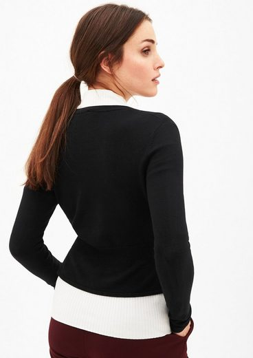S.oliver Black Label Sweater With Fake Fur-collar