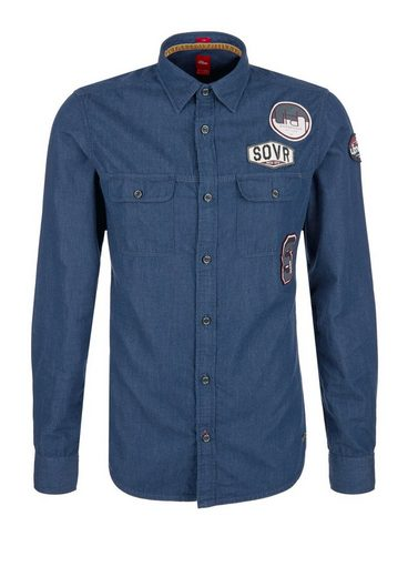 s.Oliver RED LABEL Slim: Jeanshemd mit Patches