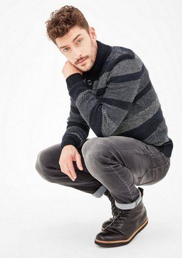 s.Oliver RED LABEL Pullover mit Wabenmuster-Streifen