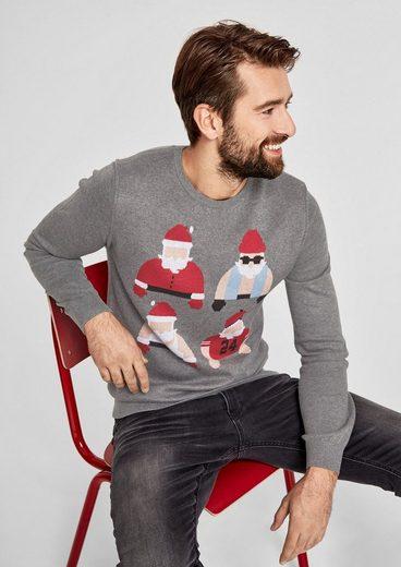 s.Oliver RED LABEL Weihnachtspulli in glattem Feinstrick