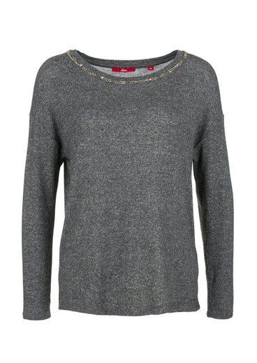 s.Oliver RED LABEL Jerseyshirt mit Schmuckperlen