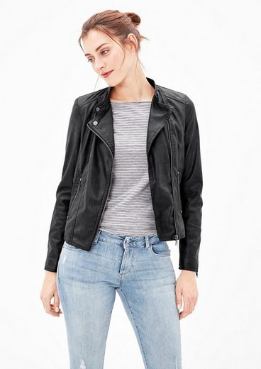s.Oliver RED LABEL Bikerjacke im Leder-Look