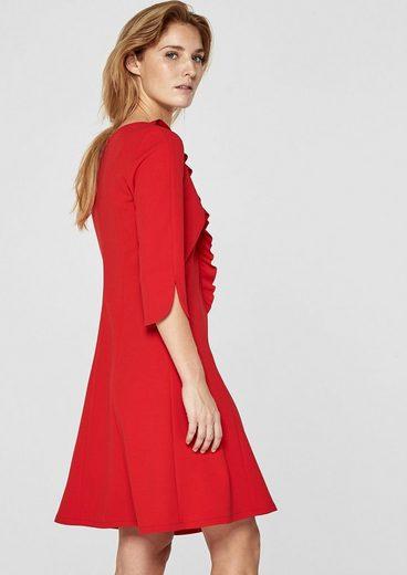 s.Oliver BLACK LABEL Crêpe-Kleid mit Volant-Ausschnitt