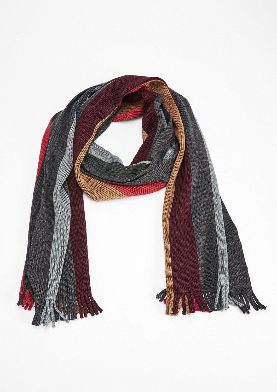 Herren s.Oliver RED LABEL Wollmix-Schal im Streifendesign schwarz | 04059111961201