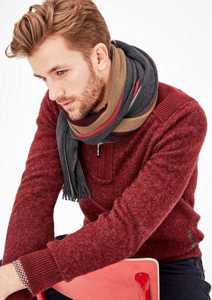 - Herren s.Oliver RED LABEL Wollmix-Schal im Streifendesign schwarz | 04059111961201