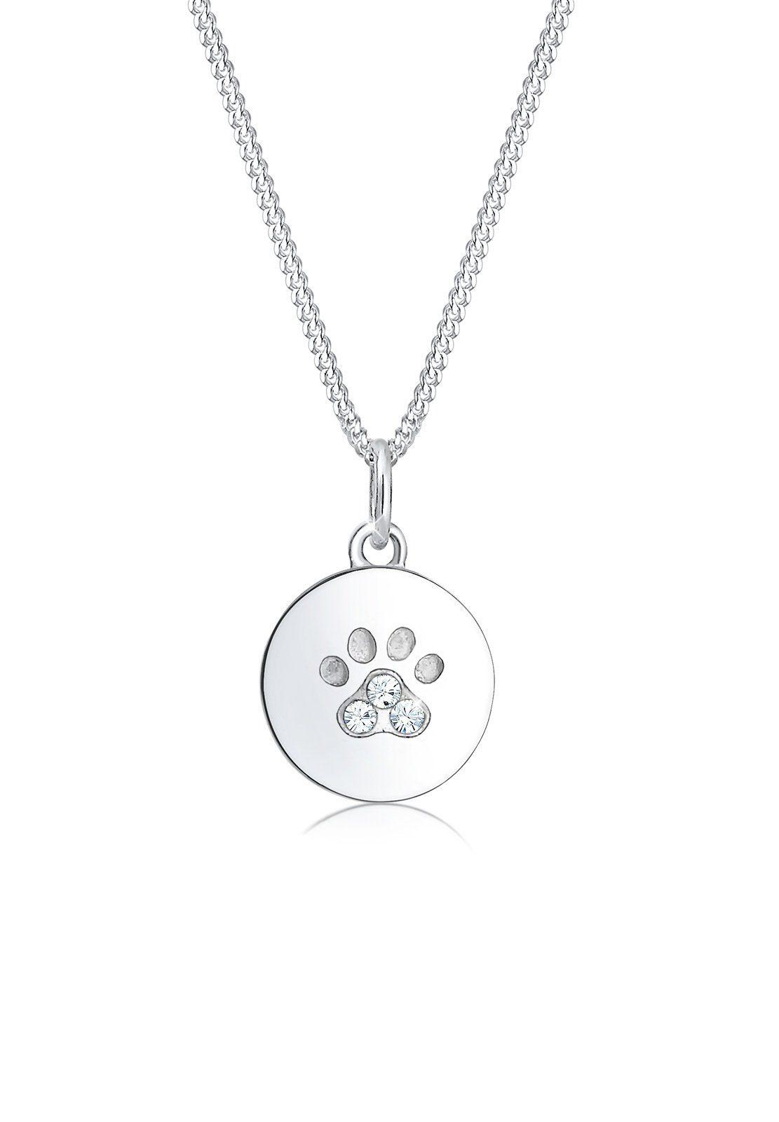 Elli Halskette »Pfote Hund Katze Swarovski® Kristalle 925 Silber«