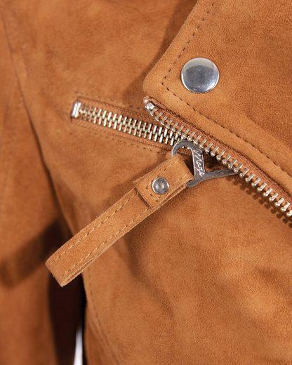 MAZE Lederjacke mit asymmetrischem Reißverschluss und Lederstreifen Aurora