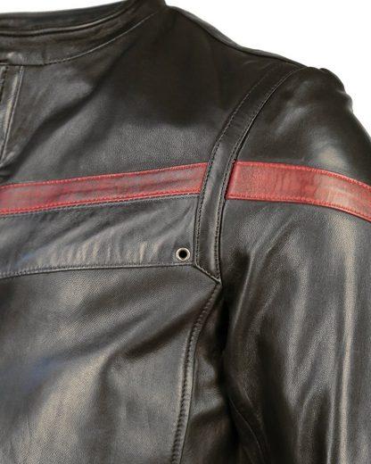MAZE Lederjacke mit rotem Retro-Streifen Vail