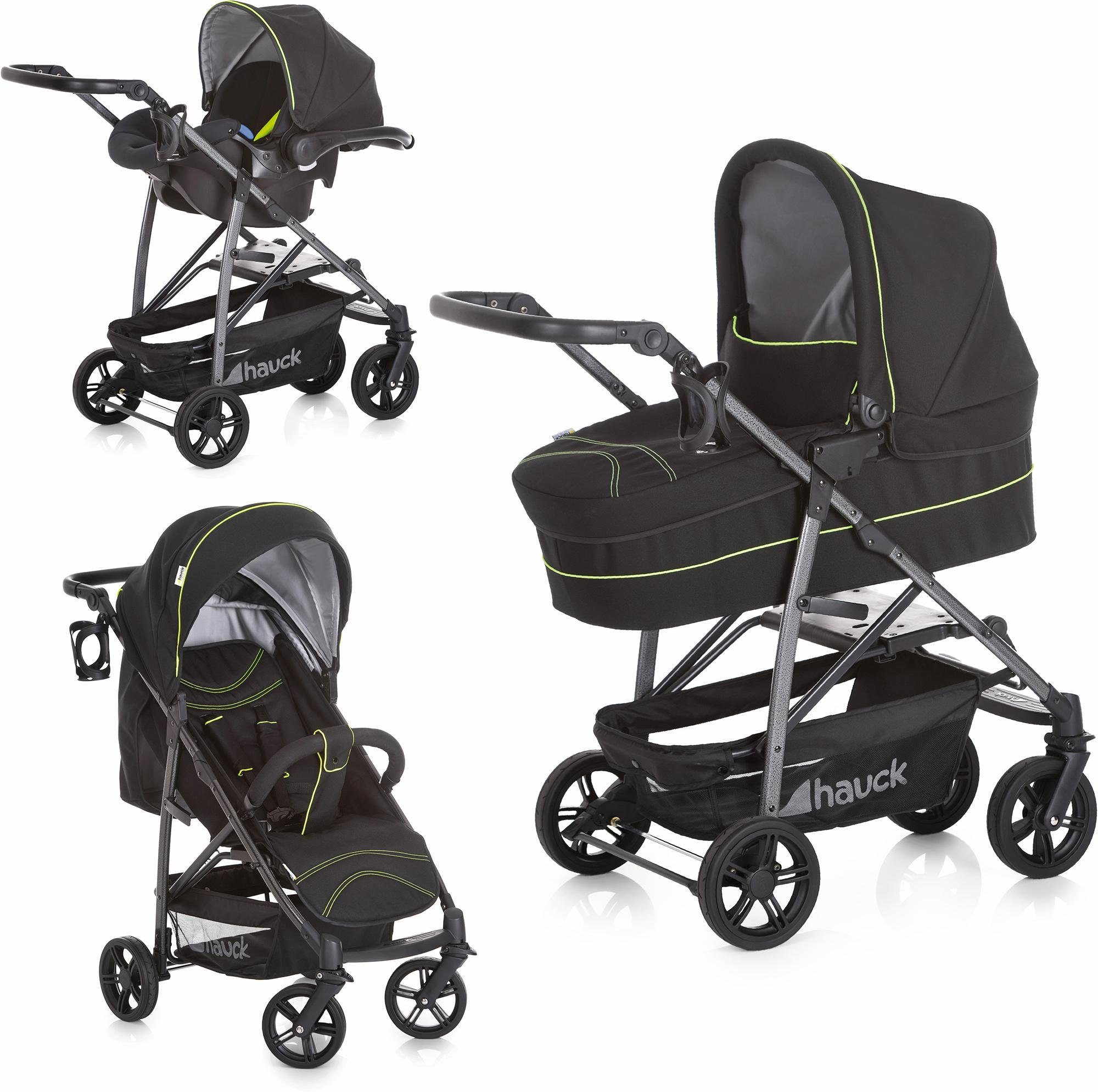 hauck FUN FOR KIDS Kombi-Kinderwagen inkl. Babyschale, »Rapid 4S Plus Trio Set Caviar/Neon Yellow«