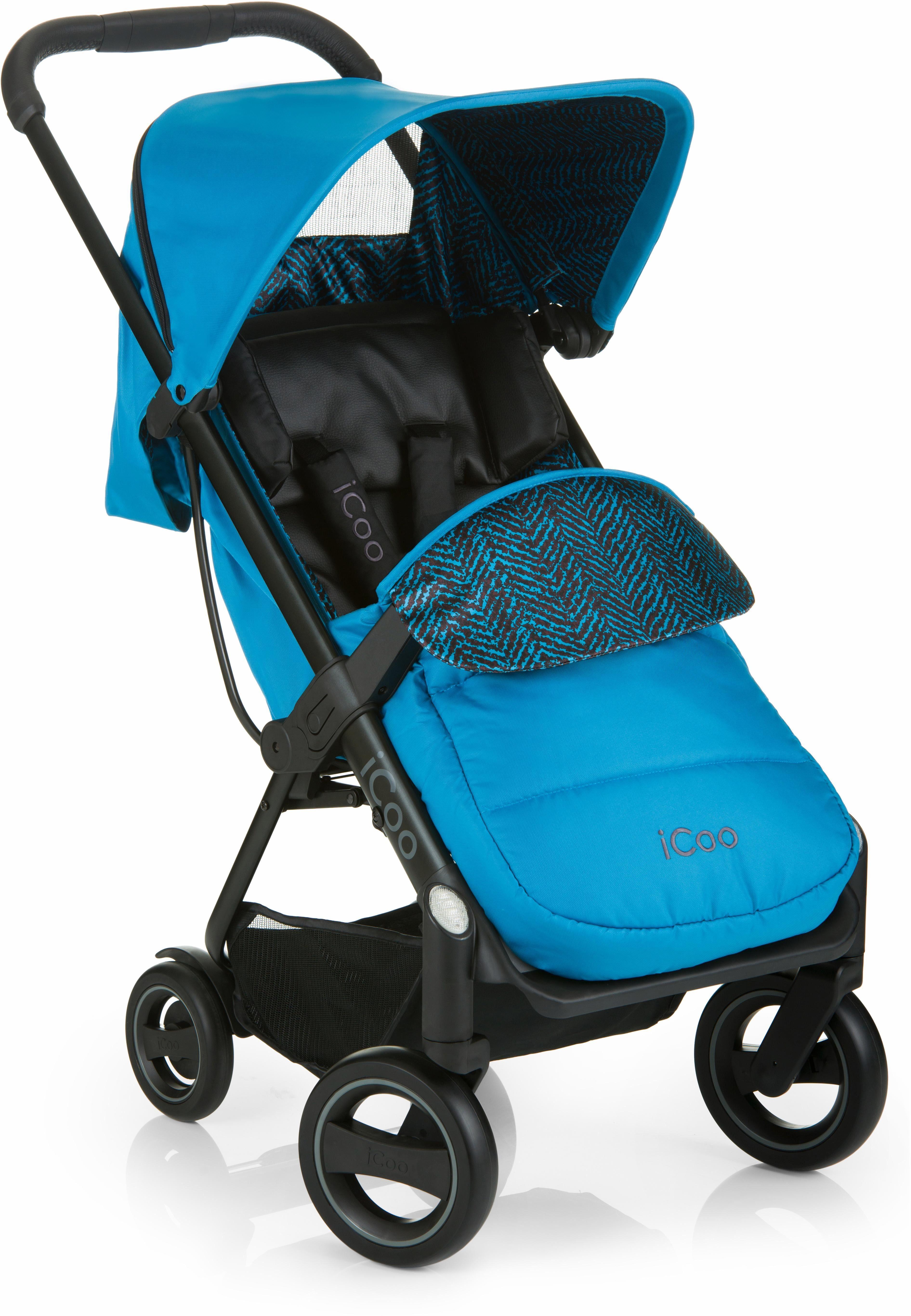 iCoo Buggy inklusive Autositz 0+ (ab Geburt), »Acrobat Shop'n Drive Fishbone Blue«
