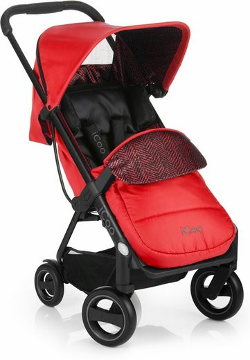 iCoo Kinder-Buggy »Acrobat Shop'n Drive Fishbone Red«, inklusive Autositz 0+ (ab Geburt)