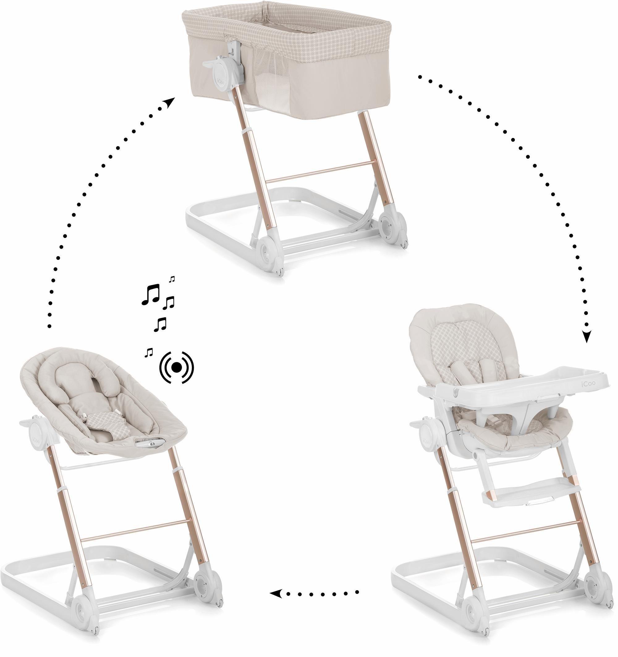 iCoo 3-in-1 Komplettset: Babybett und Hochstuhl, »Grow with me 1-2-3 Diamond Beige«   Kinderzimmer > Babymöbel > Babybetten & Babywiegen   Aluminium   iCoo