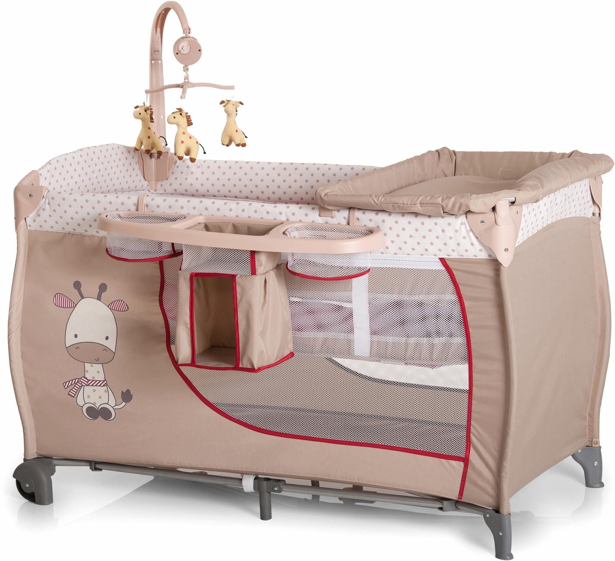 hauck FUN FOR KIDS Reisebett mit Mobile und Tragetasche, »Babycenter Giraffe«