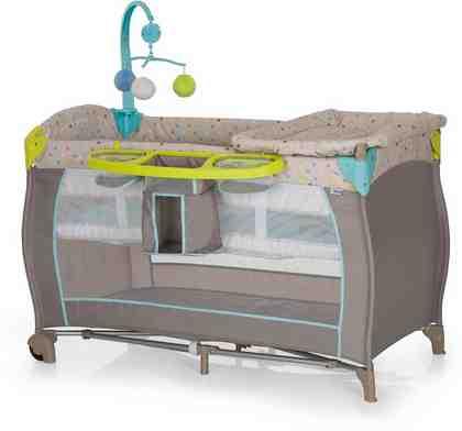 hauck FUN FOR KIDS Reisebett mit Mobile und Tragetasche, »Babycenter Multi Dots Sand«