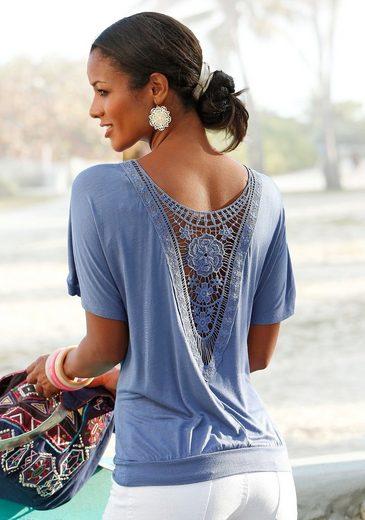 LASCANA Strandshirt mit Häkeleinsatz am Rücken