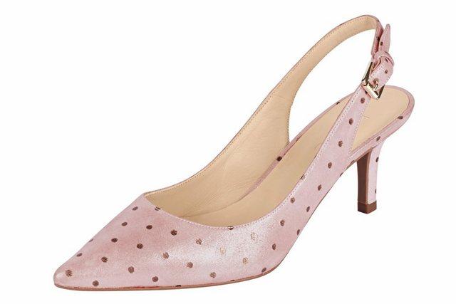 Damen Heine Slingpumps im Punkte-Dessin rosa   04250667968526